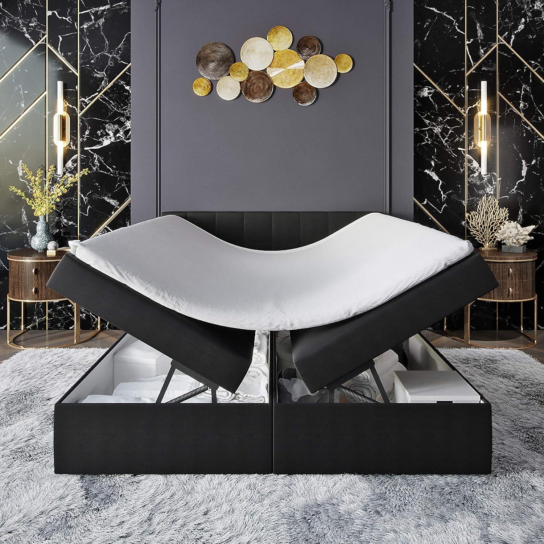INNOCENT® S4 - Cama con somier y canapé (200 x 220 cm, poliuretano, 2 capas, viscoelástico, 6 cm, colchón de muelles Bonell, grado de dureza H2, cama ...