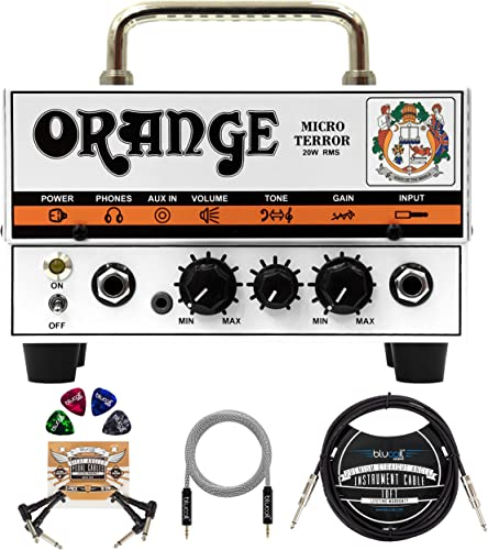 """high quality Orange Amps Micro Terror 20W Guitar Amplifier 2021 Head Bundle with Blucoil 10' Straight Instrument Cable (1/4""""), 5-FT Audio Aux Cable, 2-Pack of Pedal Patch sale Cables, and 4-Pack of Celluloid Guitar Picks online sale"""