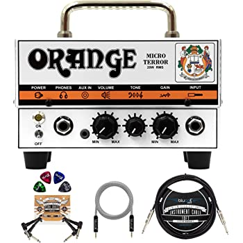 "Orange Amps Micro Terror 20W Guitar Amplifier Head Bundle with Blucoil 10' Straight Instrument Cable (1/4""), 5-FT Audio Aux Cable, 2-Pack of Pedal Patch Cables, and 4-Pack of Celluloid Guitar Picks"