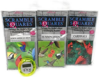Bundle Of Scramble Squares B Dazzle Birds Puzzles For Adults/Teens/ Kids - 3 Puzzles Included - North American Birds, Hummingbirds And Cardinals With Exclusive Digital Timer
