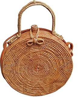 Rattan Nation - Handwoven Round Rattan Bag (Flower Weave Ribbon Closure with Handle)