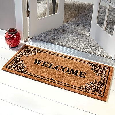 """Home Dynamix Nicole Miller Fremont 'Welcome' Coco Coir Outdoor Door Mat 22""""x47"""", Border Brown/Black"""