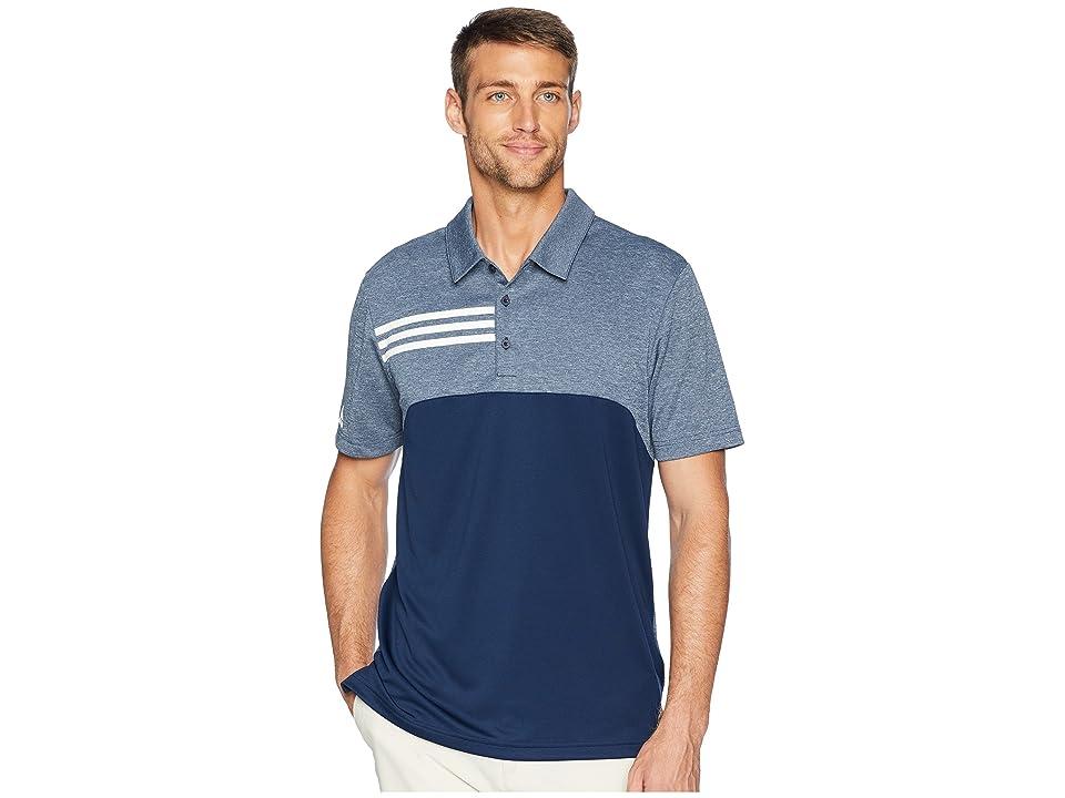 adidas Golf 3-Stripes Heather Block Polo (Collegiate Navy Heather) Men