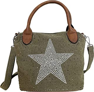 STERN Strass Glitzer Small Star Damen kleine Tasche Canvas Stoff Fashion Henkeltasche Schultertasche Stofftasche Mini Mädchen