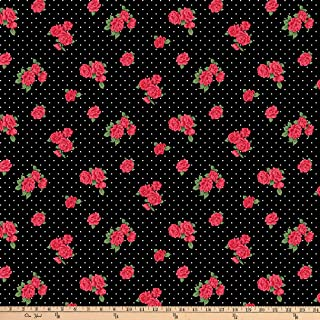 Fabric Traditions Gertie Rayon Challis Roses Dot, Red/Black/White Yard