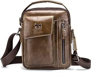Men's Shoulder Bag, Popoti Leather Shoulder Bag Handbag Schoolbag Crossbody Bags Daypack Briefcase Multifunctional Vintage Messenger Bag (Brown-3)