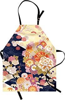 Ambesonne Japanese Apron, Traditional Kimono Motifs Composition Floral Patterns Vintage Artwork, Unisex Kitchen Bib with Adjustable Neck for Cooking Gardening, Adult Size, Navy Cream