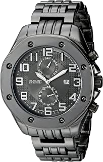 August Steiner Men's Urban Multifunction Watch - Screwed in Bezel around Textured Sunburst Dial with Month of Year, Date, and 24 Hour Subdial on Bracelet