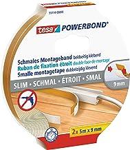 tesa Powerbond Smal - Smalle montagetape uit schuim - Dubbelzijdige tape, zelfklevend - Set van 2 rollen plakband, beige