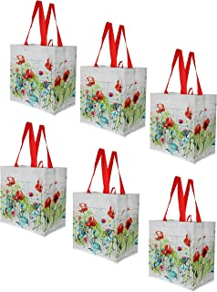Earthwise Reusable Grocery Shopping Bags Extremely Durable Multi Use Large Stylish Fun Foldable Water-Resistant Totes Design - Spring Flowers (Pack of 6)