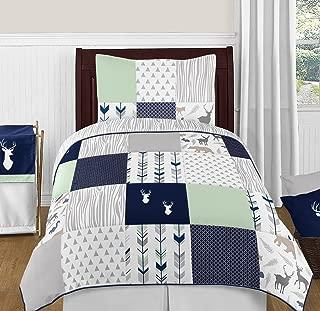 Sweet Jojo Designs 4-Piece Navy Blue, Mint and Grey Woodsy Deer Boys Kids Childrens Twin Bedding Set