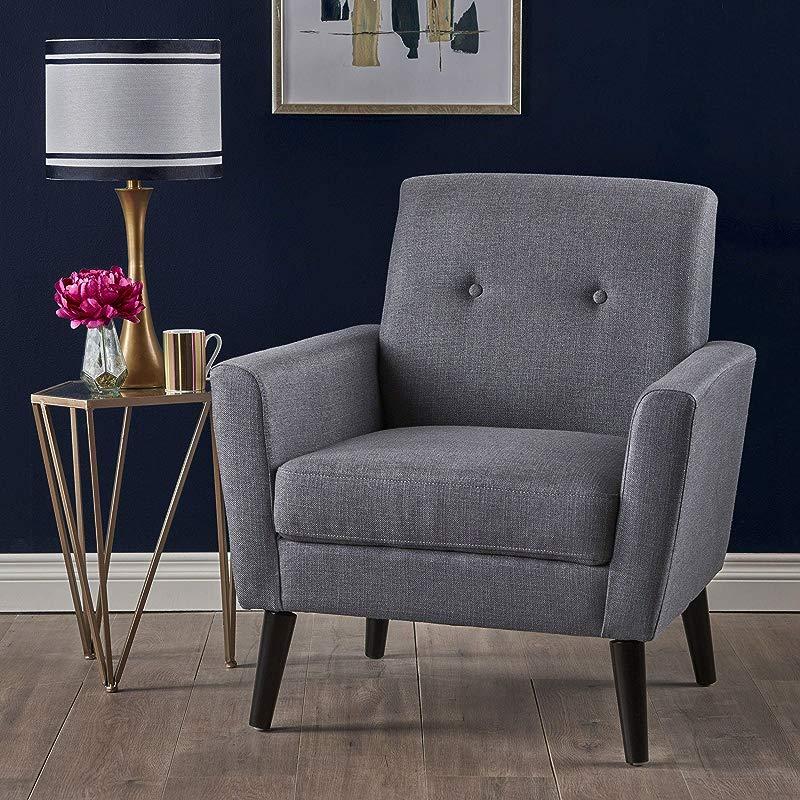 Christopher Knight Home 303246 Sierra Mid Century Dark Grey Fabric Club Chair