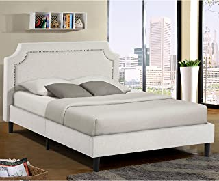 Alison Beige Upholstered Platform Bed with Nail Head Accent Queen Size
