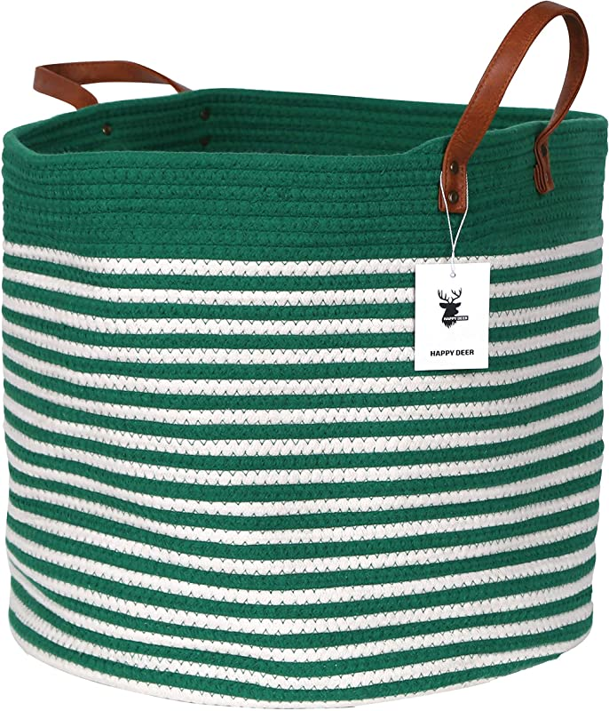 Happydeer Cotton Rope Storage Basket Large Size Green Mixed White Dia17 H15 PU Leather Handle Blanket Storage Basket Washing Basket Toy Storage Nursery Hamper Storage Bins