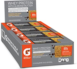 Gatorade Whey Protein With Almond Butter Bars, Chocolate Chip Cookie Dough, 2.0 oz bars (Pack of 12, 20g of protein per bar)