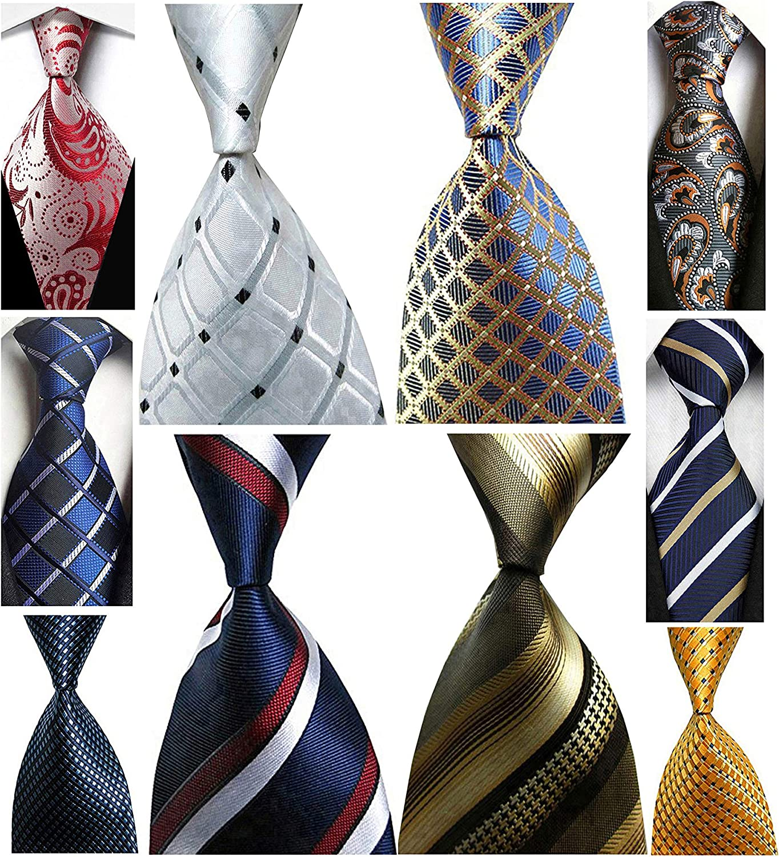 Wehug Lot 10 PCS Men's Ties 100% Silk Tie Woven Slim Necktie Jacquard Neck Ties Classic Ties style003