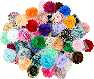 """JLIKA (50 Pieces Shabby Flowers - Chiffon Fabric Roses - 2.5"""" - Solids and Prints Included - Assorted Color Mix - Single Flowers Grab Bag"""