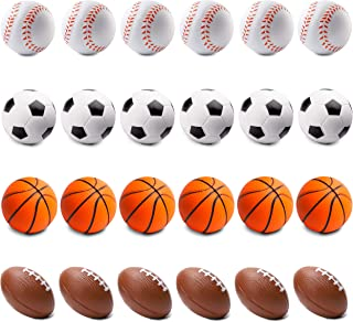 WATINC 24 Pcs 2.5Inch Sports Ball Squishies, Mini Foam Balls for Kids Sports Theme Party Favors Toys, Squeeze Ball for Stress Relief, Game Prize, Includes Soccer Ball, Basketball, Football, Baseball