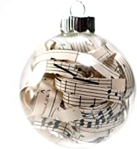 Vintage Sheet Music Christmas Ornament - 2.62 Inch Glass Ornament with 1/4 Inch Strips