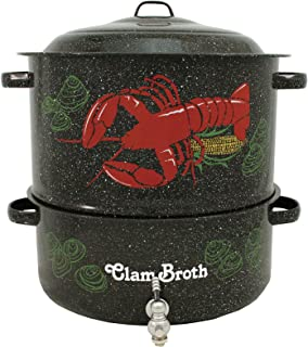 Granite Ware Enamel-on-Steel 2-Tier Decorated Clam-and-Lobster Steamer with Faucet, 19-Quart
