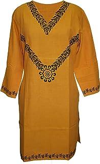 Viniyog Women`s Handloom Cotton Kurti with hand block design