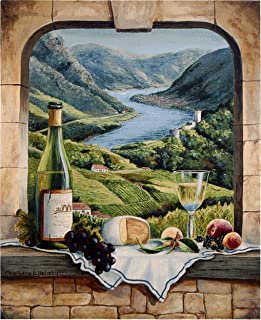 Rhine Wine Moment by Barbara Felisky | Woven Tapestry Wall Art Hanging | European River Valley with Wine Still Life | 100% Cotton USA Size 53x42