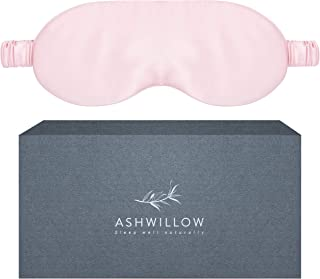 ASHWILLOW Silk Sleep Mask - 100% Pure Mulberry Silk - Breathable, Skin-Safe, Smooth Luxury Fabric and Straps - Natural Light Blocking Sleeping Aid - Pink Handmade Eye Cover in Premium Gift Box