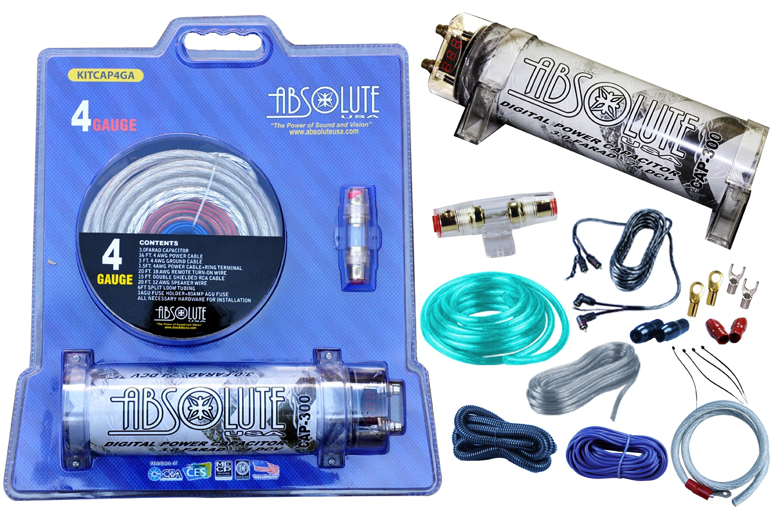 Amazon.com: Absolute USA KITCAP4GASI 3.0 Farad Power Capacitor 4 Gauge Car  Amplifier Installation Wiring Complete Kit (Silver): Car ElectronicsAmazon.com