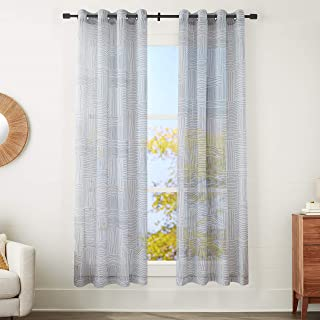 """Amazon Basics Sheer Window Panel Pair with Grommets - 50"""" x 84"""", Painterly Grid Grey and White"""