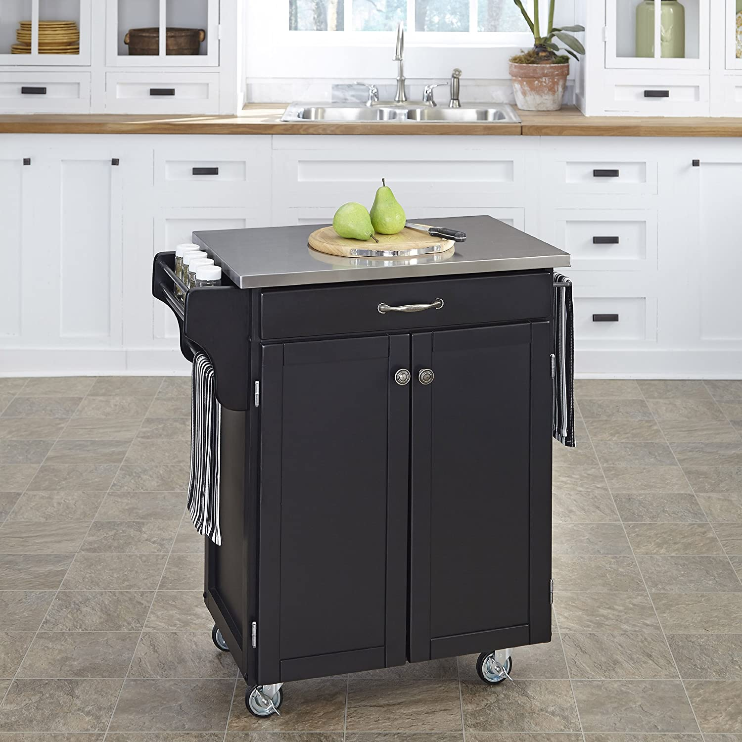 Create a Cart Black 9 Door Kitchen Cart with Stainless Steel Top by Home  Styles