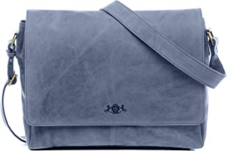 SID & VAIN Messenger Bag echt Leder Laptoptasche Spencer groß Businesstasche 15.6 Laptop Umhängetasche Laptopfach Ledertasche Herren