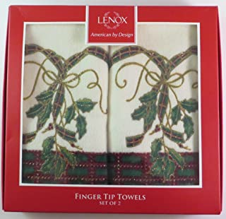 Lenox American by Design Fingertip Towels Set of 2 Holly Design