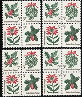 1964 VINTAGE CHRISTMAS HOLIDAY FOLIAGE ~ MISTLETOE ~ EVERGREENS ~ POINSETTIA ~ HOLLY ~ 16 NEW POSTAGE STAMPS (#1257 Lot of Four Blocks of 5¢ Stamps Total 16 Stamps) Ready to use on your Christmas Cards & Letters!