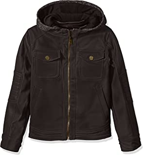Urban Republic Boys' Texture Faux Leather Jacket Patch Pocket Sleeve