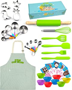 Kids Baking & Cooking Gift Set – 34 Piece Real Baking Supplies for Junior Chefs - Stainless Steel & Silicone Baking Set for Girls & Boys with Adjustable Apron Kids Cook Island