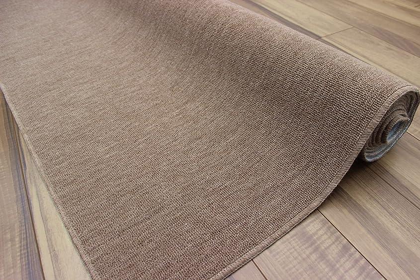 商人種ウッズ【防炎カーペット】 本間3畳 191×286cm 日本製 ウール混じゅうたん 折りたたみ絨毯 品名オリオン本間 ブラウン色