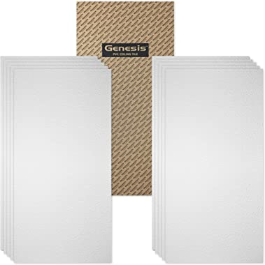 Genesis 2ft x 4ft White Stucco Pro Ceiling Tiles - Easy Drop-in Installation – Waterproof, Washable and Fire-Rated - High-Grade PVC to Prevent Breakage - Package of 10 Tiles