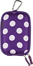 Trendz Zipped Hard Case Cover Bag with Belt Loop and Carabiner for Universal Compact Digital Cameras  Usable Size Approx   110 mm  Purple Polka Dot