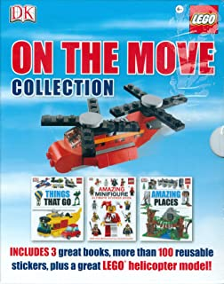 DK Lego On the Move Collection includes: 3 Books * More than 100 Reusable Stickers * Lego Helicopter Model   Book Titles: 1. Things That Go 2. Amazing Minifigure Ultimate Sticker Book 3. Amazing Places   Age 6+   RRP: £14.99