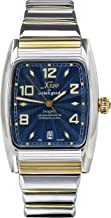 Xezo Incognito Men's 10 ATM Water Resistant Watch. 9015 Miyota Automatic Movement. Gold Accents, Sapphire Blue Dial. X-Large Wristband