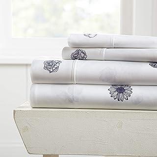 Becky Cameron Premium Ultra Soft Indigo Flowers Pattern 4 Piece Bed Sheet Set, Queen, Navy