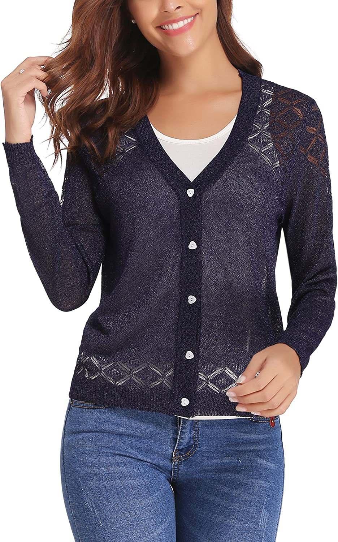 1fba2cb02 IClosam Women Knitted Long Sleeve Crochet Button Down Cardigan Sweater