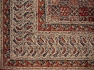 Full Moon Loom Kalamkari Block Print Square Cotton Tablecloth 72