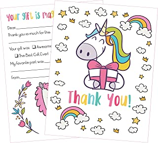 25 Unicorn Thank You Cards Kids Will Love These Cute 5x7 Inch Fill in The Blank Thank You Notes with Envelopes