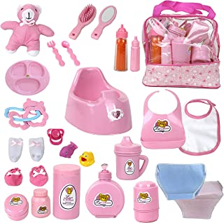 Mommy & Me Baby Doll Feeding, Changing, and Accessories Set Including Potty, Magic Bottle, and 28 Doll Accessories, with Toy Bag
