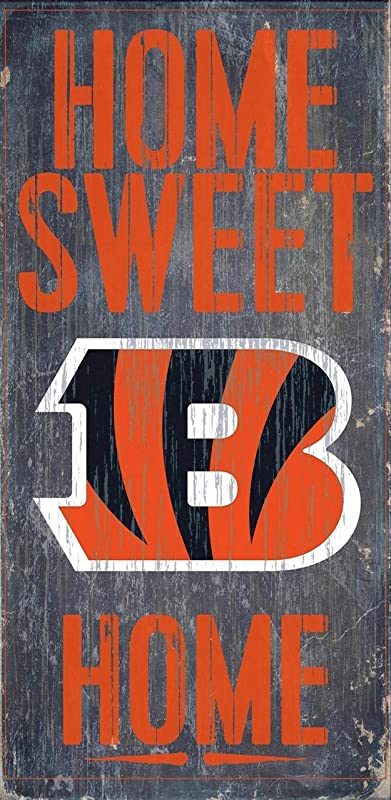 Cincinnati Bengals Official NFL 14 5 Inch X 9 5 Inch Wood Sign Home Sweet Home By Fan Creations 048357