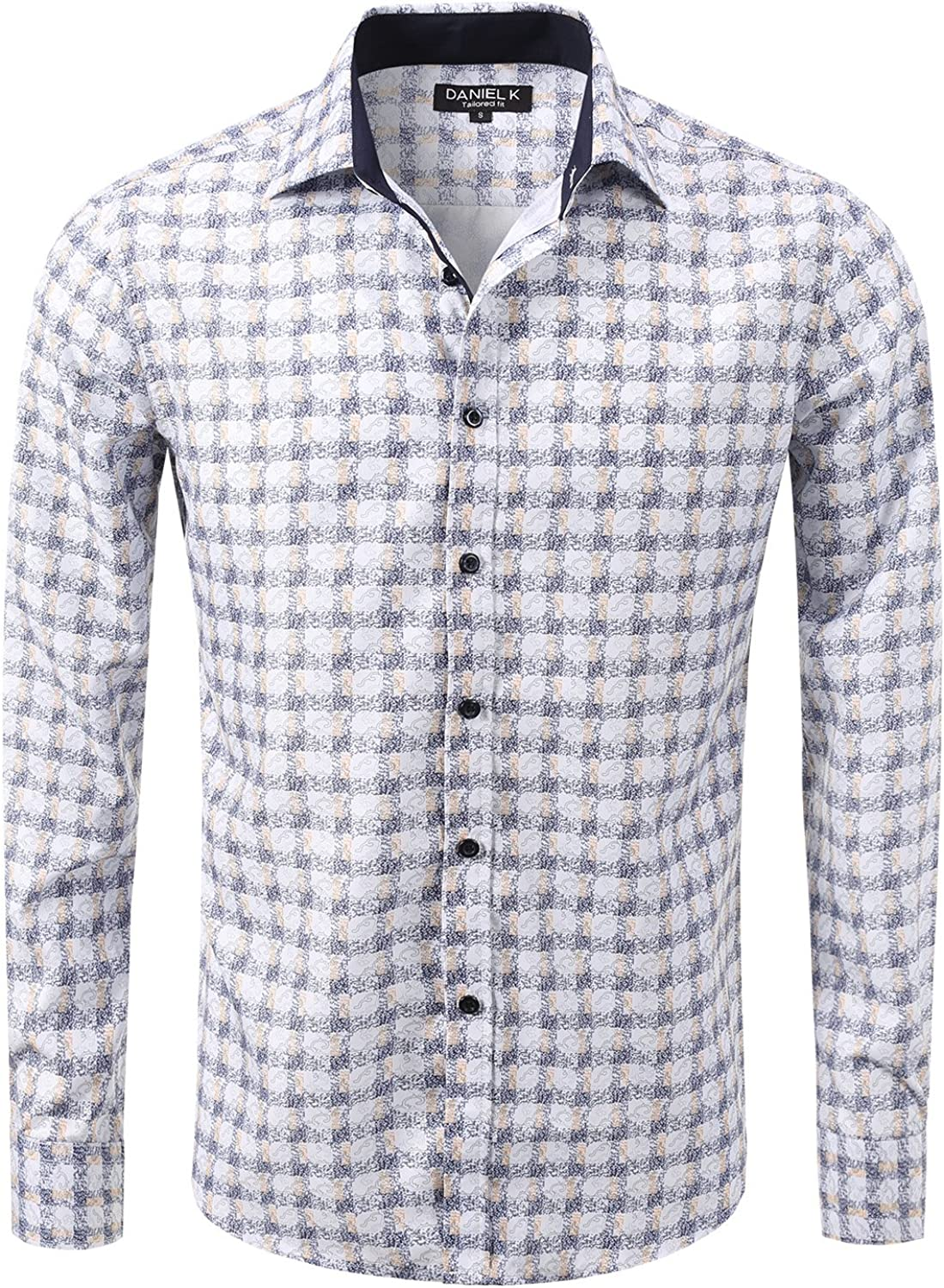 fhnlove Daniel K Max 83% Cheap mail order shopping OFF Men's Spread Print Collar Patterned Oxford Long