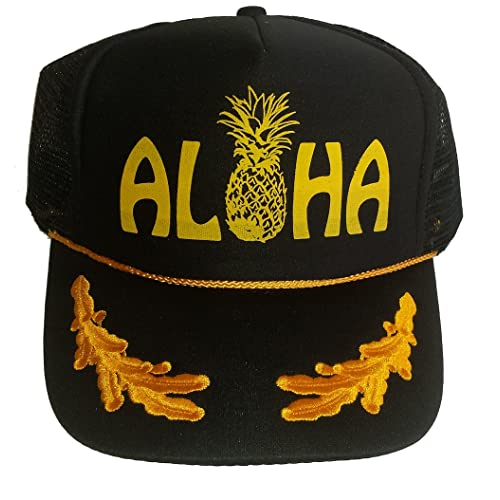 04bec546811 Aloha Pineapple Mesh Snapback Trucker Hat Cap Gold Leaf Captains Hawaii