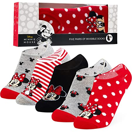 Disney Invisible Socks for Women, No Show Socks 5 Pairs, Minnie & Mickey Gifts