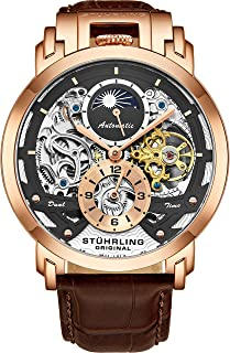 Orignal Mens Watch Automatic Watch Skeleton Watches for Men - Leather Luxury Dress Watch - Mechanical Watch Stainless Steel Case Self Winding Analog Watch for Men